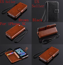 For Apple iPhone 5 5S Leather Flip Wallet Case Cover Stand