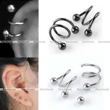 2x16G Stainless Steel S Spiral Helix Ear Stud Lip Nose Ring Cartilage Piercing