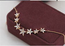 Simulated Diamond/Crystal Flower Earring&Necklace Set/Gold Plated/RGE222/RN008