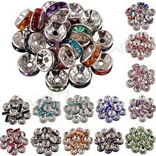 100 Pcs Acrylic Silver Plated Spacer Loose Beads Charms Findings Accessories 8mm