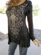 Plus Size Vocal Hi Lo Black Tie Dye Crystals Scrolls Tunic Shirt Biker 1X 2X 3X