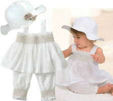 3pcs Baby Girl Kid Ruffle Top+Pants+Hat Set Outfit Clothes Costume 0-24M White