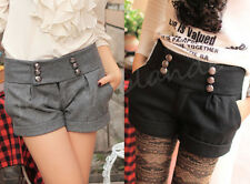 Fashion Women's Wool Blend Buttons High Waist Casual Shorts Mini Skirt Hot Pants