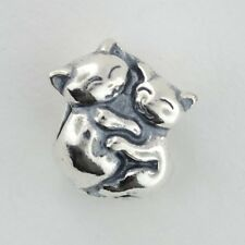 Sterling Silver 925 European Charm Cat and Kitten Hugging Bead 88846