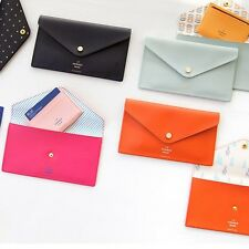 Flat Pouch, Slim Clutch Wallet, Passport Cosmetic Pen Name Card Storage Holder