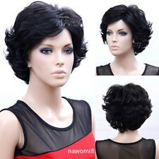 Fashion Old Women Short Curly Wavy Brown Black Hair Full Wigs Mom Gift