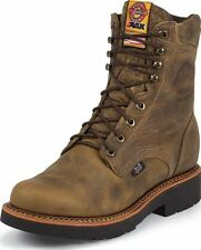 "MENS JUSTIN 8"" TAN GAUCHO LACE UP J-MAX WORK BOOTS! STEEL TOE 441 USA!!"