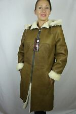 100% Real Sheepskin Shearling Leather Removable Hood Long Jacket Coat XS-6XL NWT