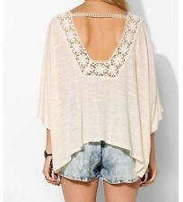 NEW URBAN OUTFITTERS Pins And Needles Crochet-Trim Top Poncho IVORY XS/S M/L