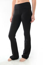 T Party Fold Over Waist Leggings Tall Yoga Sexy Pre Washed Black Pants S M L