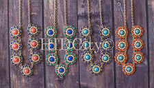 13 Color Crew Disc Necklace Bubble Rose Beaded NEW US Statement Crew Peach