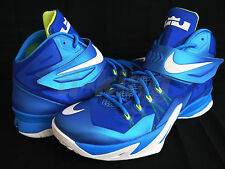 Nike Zoom Soldier 8 VIII Blue White Volt Lebron Basketball Shoes 653641 417 $130