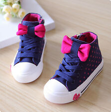 Toddles Kid Children Girl Lace Up Bowknot Polka Dot Sneakers Sports Casual Shoes