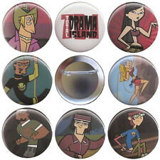 Total Drama Island # 1 Set of 8 Buttons, Magnets or FlatBacks - TDI Pins Badges