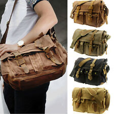 Men's Vintage Canvas Leather Bag Messenger Shoulder Military Satchel Hiking Bag