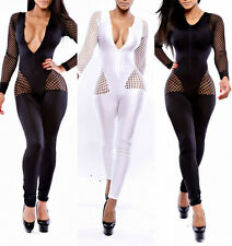 Womens Zipper Mesh Hollow Bodycon Jumpsuit Romper Outfit Cocktail Clubwear Party