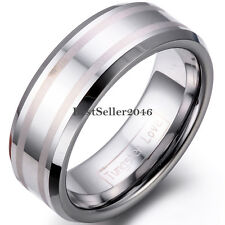 8mm Mens Ladies Tungsten Carbide Ring w Two Satin Lines Engagement Wedding Band