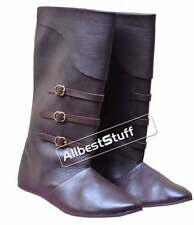 Medieval Leather Boots with Brass Buckle