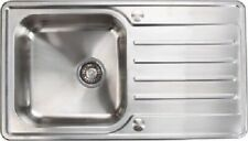 Stainless Steel Sinks 1.0/1.5 Bowl, Waste Low Profile Modern Deep Bowl Inset New