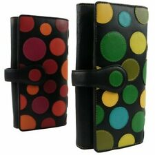 New LADIES LEATHER Polka LARGE Flap Over Purse/Wallet by Visconti Gift Box Coin