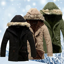Men's Parka Jacket Winter Thick Warm Three-quarter Coat Overcoat Hooded 5 sizes