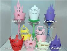 PRINCESS CASTLE, CROWN, DRESS, PARTY THEME CUPCAKE WRAPPERS x12