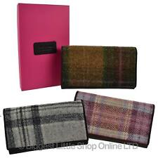 Ladies Flap Over LEATHER & Tweed PURSE WALLET by Mala; Abertweed Collection Wool