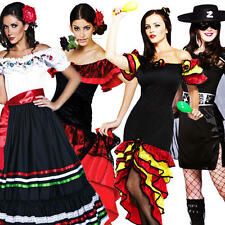 Spanish Senorita Ladies Fancy Dress Womens Adult Flamenco Dancer Mexican Costume