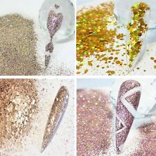 GOLD  NAIL ART GLITTER  HOLOGRAPHIC METALLIC CHUNKY FINE MIXES & STARS