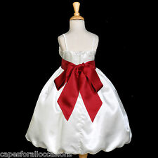 IVORY APPLE RED PAGEANT WEDDING BRIDESMAID FORMAL FLOWER GIRL DRESS 2 4 6 7 8 10