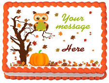 FALL OWL Autum Owl Baby shower Edible image cake topper