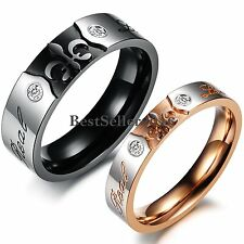 "Stainless Steel "" Real Love "" Fleur de Lis Couples Promise Ring Wedding Band"