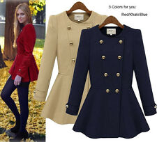 Hot Womens Girl's Double-breasted Wool Blend Coat Jacket Parka Outwear For Sale
