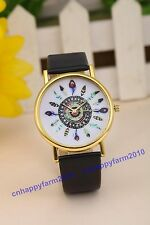 11 Colors Peacock feathers Gold Dial Leather Band Women Lady Quartz Wrist Watch