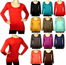 Casual Seamless Long Sleeve Top Scoop Round Neck Stretch T Shirt Blouse One Size