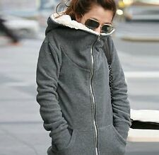 C199 Warm Winter Fashion Lady's Fleece Long Sleeve Coat Hooded Jacket Sweater AU