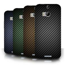 STUFF4 Back Case/Cover/Skin for HTC One/1 M8/Carbon Fibre Effect/Pattern