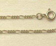 """9ct Gold Plated 925 Sterling Silver 1.6mm Figaro Chain Bracelet Necklace 6""""-30"""""""
