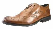 Base London Mens Brogue lace up Tan Brown and Black Leather Formal Shoes