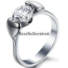 Womens Stainless Steel Double Heart Round Cubic Zirconia Promise Engagement Ring
