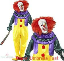 Mens HORROR CLOWN Halloween Fancy Dress Costume Scary Bloody Circus outfit