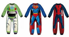 REDUCED Kids Character Spiderman Superman Polar Fleece Jumpsuit Pyjamas Onesie