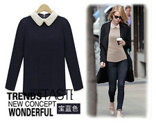 Simple Fashion Doll Collar Bally Tops Long-sleeved Slim Sweater Bottoming Shirt