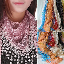 Great Hot Lace Tassel Rose Floral Knit Triangle Hollow Mantilla Scarf Shawl Wrap