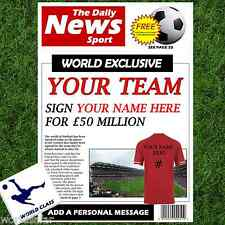 PERSONALISED NEWSPAPER TEAM - GIFT FOR HIM AT CHRISTMAS - ANY TEAM!
