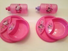 Girls Hello Kitty Minnie Mouse Plastic Lunch Plate Bowl Water Bottle Set Pink