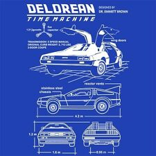 Dolorean Blueprint Mens T-Shirt Tee Time Machine Doc Marty Back McFly Future to