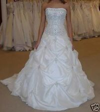 New White Ivory Strapless Wedding Dresses Bride Gown Plus Size 6 8 10 12 14 16
