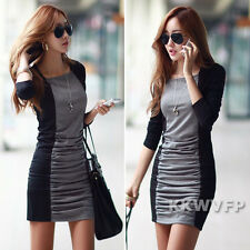 Fall New Women Long Sleeve Patchwork Bodycon Pleated Casual Shirred Mini Dress M