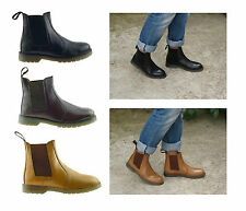 Mens Gentlemens New Real Genuine Leather Pull On Ankle Chelsea Boots Shoes Size
